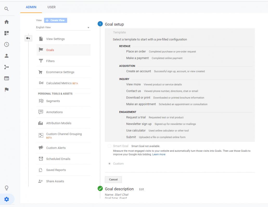 تنظیمات مربوط به goal setup در آنالیتیکس و انتخاب حالت custom
